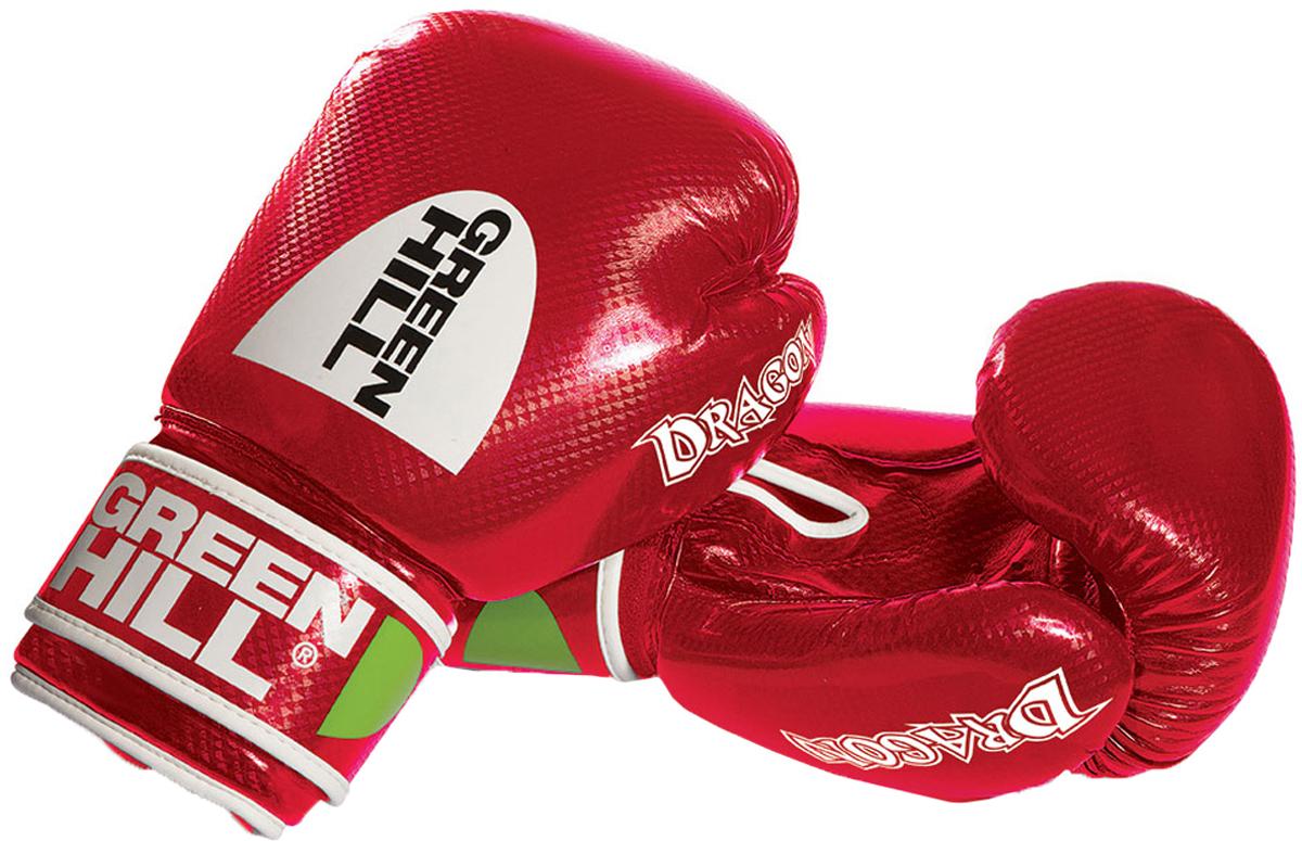 Перчатки боксерские Green Hill Dragon, цвет: красный. Вес 14 унцийBGD-2056Боксерские перчатки Green Hill Dragon подойдут для легких спаррингов и тренировок. Верх выполнен из высококачественной искусственной кожи, наполнитель - из вспененного полимера. Отверстия в области ладони позволяют руке дышать. Манжет на липучке способствует быстрому и удобному надеванию перчаток, плотно фиксирует перчатки на руке.