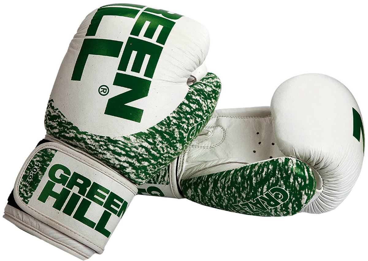 Перчатки боксерские Green Hill Craze, цвет: белый, зеленый. Вес 14 унцийBGС-2220Перчатки боксерские Green Hill Craze сделаны из натуральной кожи. Имеют дополнительную боковую защиту. Mанжет на липучке.