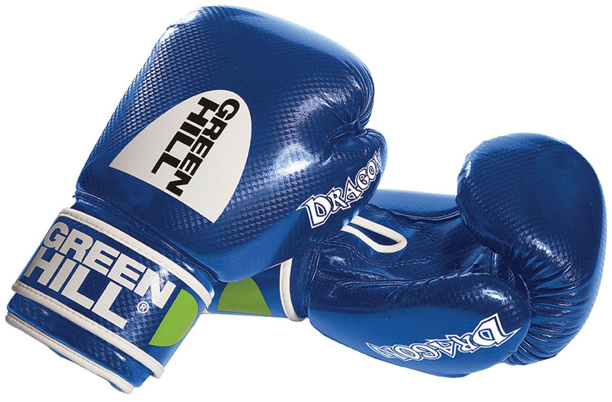 Перчатки боксерские Green Hill Dragon, цвет: синий. Вес 14 унцийBGD-2056Перчатки из качественной искусственной кожи, и имеют немного блестящую поверхность.Отлично подходят для тренировок и спаррингов. Оригинальный дизайн особенно понравится юным спортсменам.