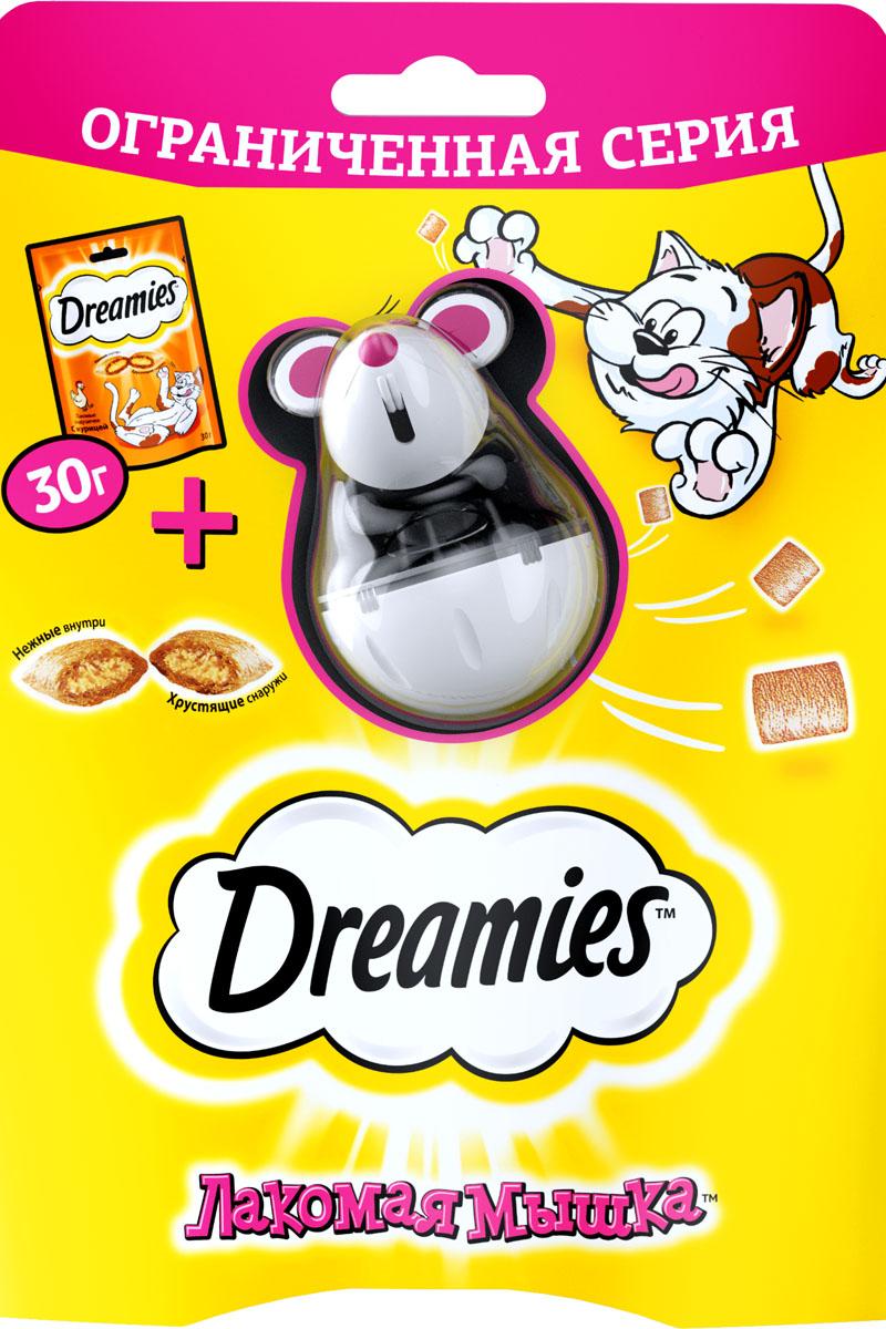 Лакомство для кошек Dreamies Лакомая мышка, с курицей, 30 г + игрушка132384Лакомство для кошек Dreamies Лакомая Мышка - это совершенно новый способ побаловать вашего кота любимым лакомством! Теперь такпросто увлечь любимца игрой, в которой его ждет вкусная награда! Просто наполните игрушку лакомством Dreamies, дайте ее коту, и пустьначнется безудержное веселье со вкусом! Состав: Белковые растительные экстракты, злаки и продукты их переработки, мука животного происхождения (в том числе мука из курицыминимум 4%), животные жиры и растительное масло, гидролизат животного происхождения, витамины и минералы. Содержание питательных веществ (100 г): белок – 33 г; жир – 21 г; зола – 7 г; клетчатка – 1 г; влажность – не более 10 г; витамин А – 900 МЕ;витамин D3 – 60 МЕ; витамин Е – 10 мг, а также таурин, метионин и витамины группы В.