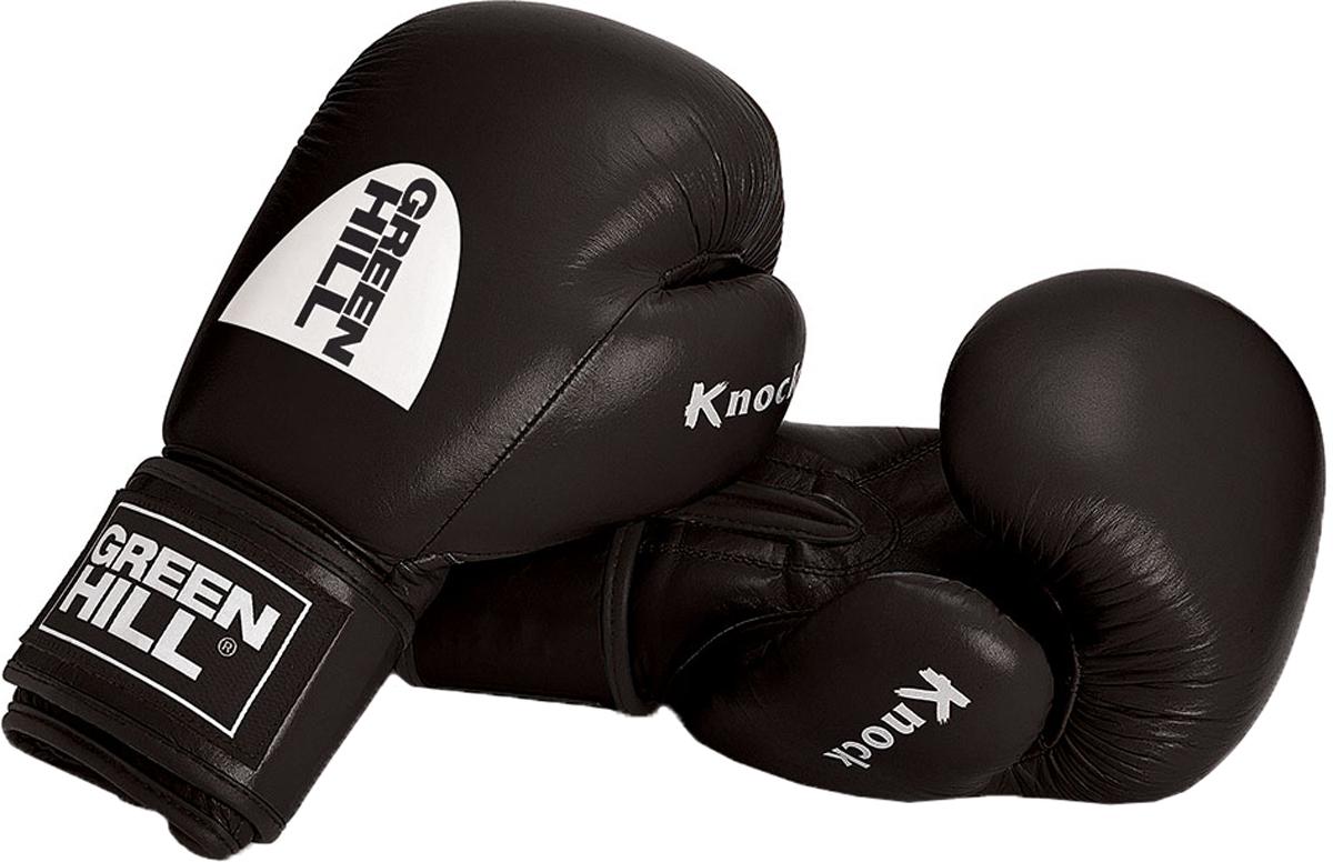 Перчатки боксерские Green Hill Knock, цвет: черный. Вес 12 унцийKBK-2105Боксерские перчатки Green Hill KNOCK специально разработаны для кикбоксинга. Выполнены из натуральной кожи буйвола. Наполнитель перчаток - формованный пенополиуретан технологии Pre-SHAPE. В перчатках KNOCK применена технология ANTISHOCK SYSTEM , что делает их востребованным атрибутом спортсменов-любителей.- Тренировочные боксерские перчатки с манжетой на липучке.- Натуральная кожа буйвола.- Формованный вкладыш из пенополиуретан технологии Pre-SHAPE.- Технология Антинокаут для снижения риска травмы принимающего удар.