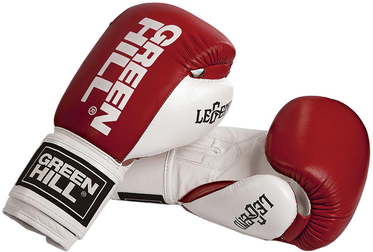 Перчатки боксерские Green Hill Legend, цвет: красный, белый. Вес 12 унций