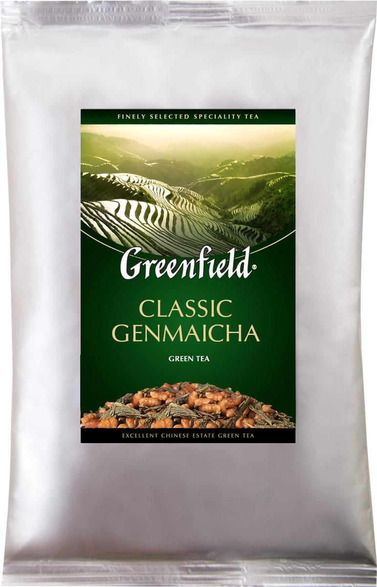 Greenfield Classic Genmaicha чай зеленый листовой с воздушным рисом, 250 г1196-15Самобытность и гармония, свойственные национальной японской культуре, воплощаются в оригинальном чае генмайча. Для его приготовления зеленый японский чай сенча объединяют с обжаренными рисовыми зернами, получая изысканное сочетание, интригующее новизной и своеобразием. В насыщенном вкусе Greenfield Classic Genmaicha хорошо слышна характерная свежесть сенчи, послевкусие с легкой карамельной нотой и тонкий, чуть дымный аромат.Исключительную свежесть чая гарантирует упаковка из специальной фольги.