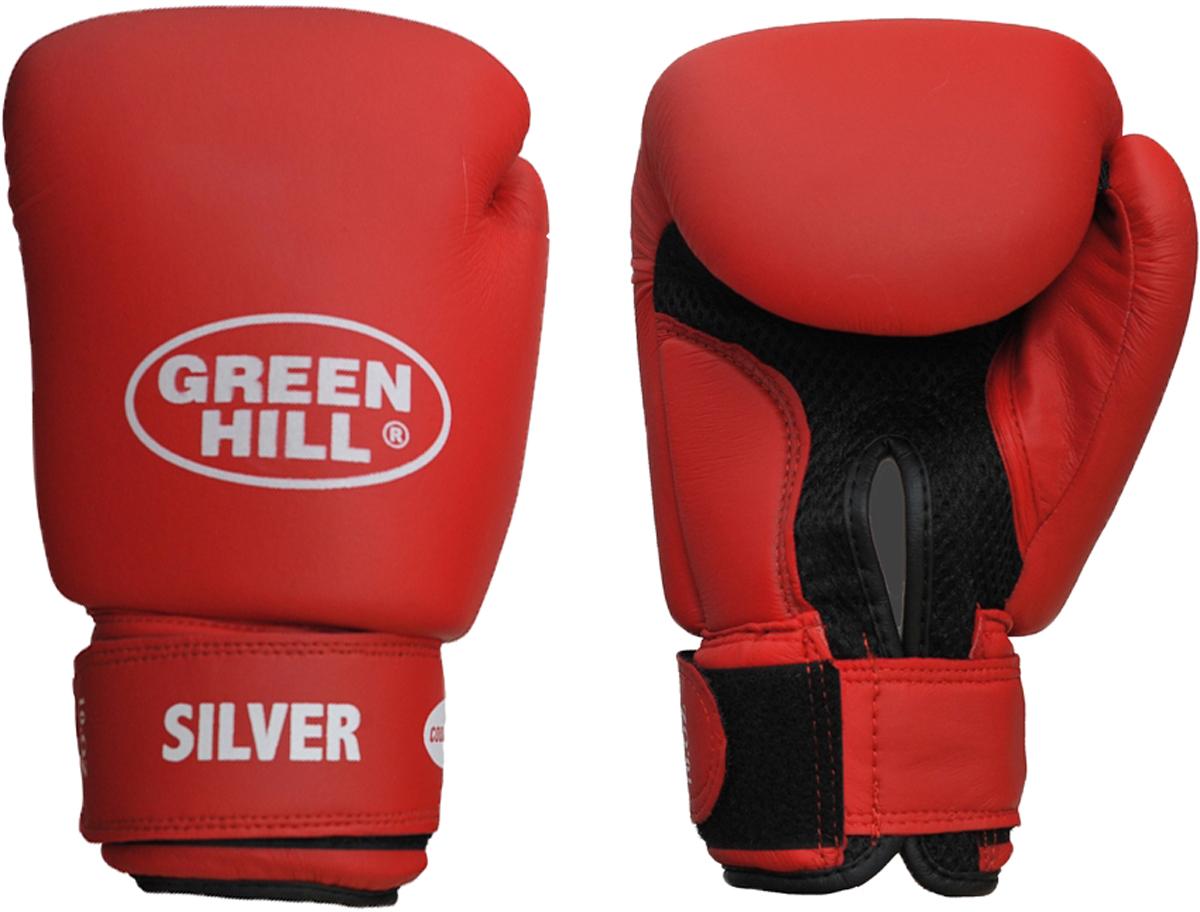 Перчатки боксерские Green Hill Silver, цвет: красный. Вес 12 унцийBGS-2039Боксерские тренировочные перчатки Silver . Сделаны из высококачественного кожзаменителя. Ладонь выполнена по технологии, которая позволяет руке дышать.Оптимальный вариант для легких спаррингов и тренировок.