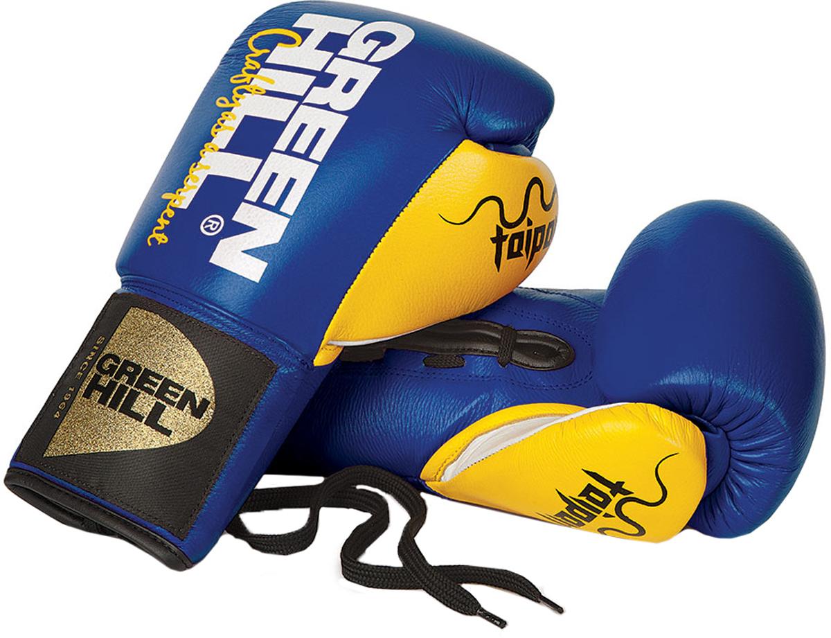 Перчатки боксерские Green Hill Taipan, цвет: синий, желтый. Вес 10 унцийBGT-2252Боксерские перчатки Green Hill Taipan. Боевые боксерские перчатки для профессионалов. Перчатки выполнены из высокопородистой коровьей кожи c наполнителем из конского волоса. Перчатки предназначены для профессиональных поединков.