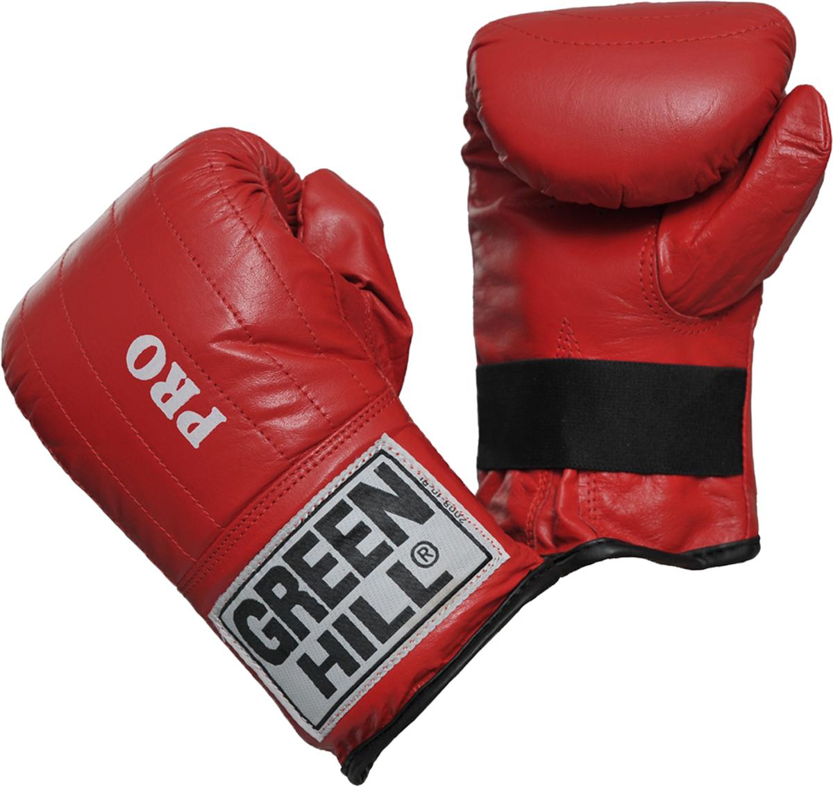 Перчатки снарядные Green Hill Pro, цвет: красный. PMP-2064. Размер SPMP-2064Снарядные перчатки-блинчики Green Hill Pro предназначены для отработки ударов по мешкам и лапам, а также для легких спаррингов. Шингарты обеспечивают комфортное использование в любых направлениях: отработка ударов в зале, дома, или фитнес-центре, легкие спарринги. Перчатки выполнены из натуральной кожи с мягким наполнителем внутри. Манжет не резинке позволяет быстро снимать и одевать перчатки, плотно фиксирует их на руке.