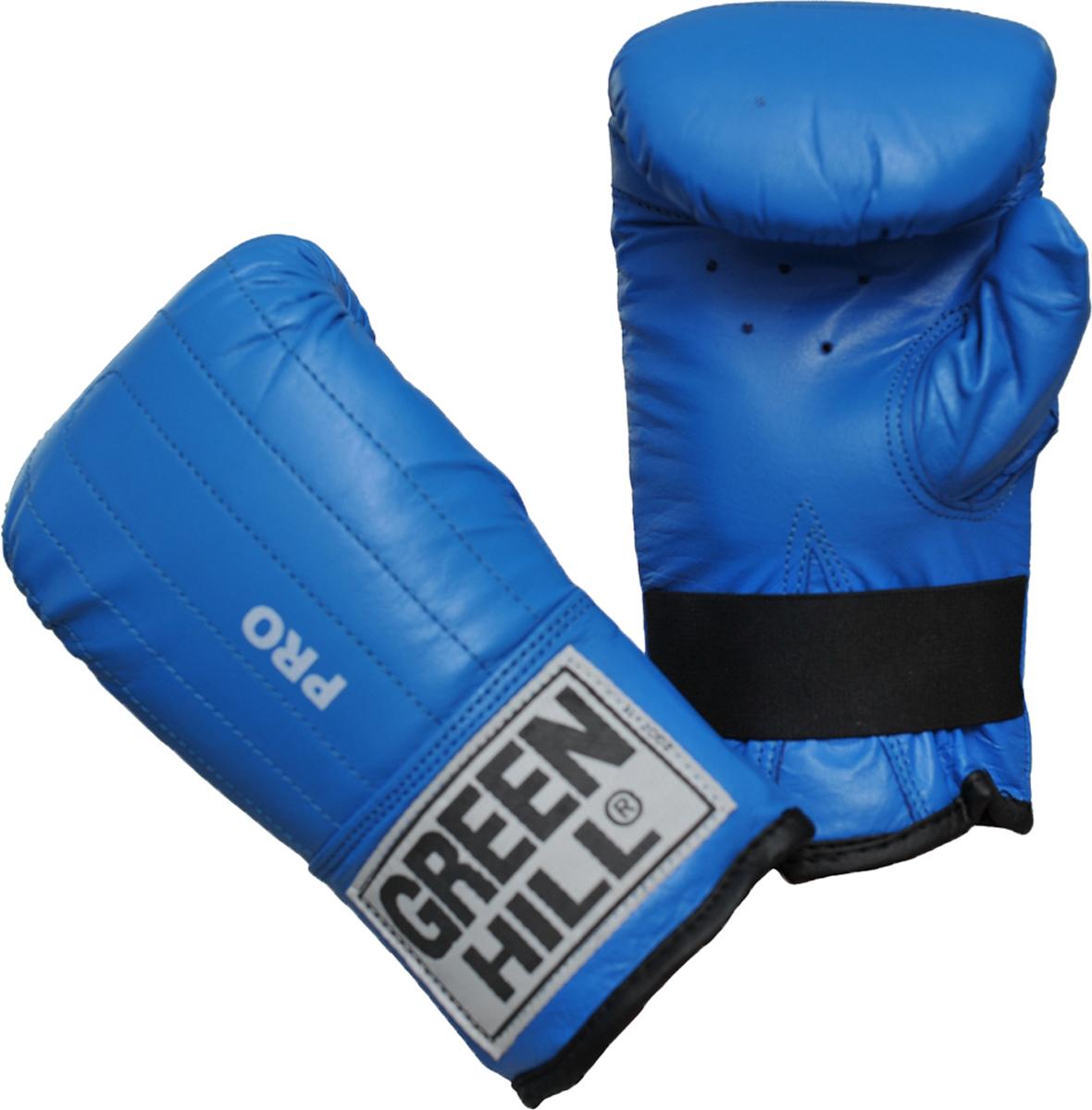 """Перчатки для единоборств Green Hill Pro, цвет: синий. Размер MPMP-2064Снарядные перчатки серии """"Pro"""" («блинчики»). Легкие и удобные снарядные перчатки для отработки ударов. Шингарты обеспечивают комфортное использование в любых направлениях : отработка ударов в зале, дома, или фитнес-центре, легкие спарринги. Выполнены из натуральной кожи, манжет на резинке.Размеры:Замерьте обхват ладони сантиметровой лентой в наиболее широком месте, исключив при этом большой палец рукиРазмер: S M L XLОбхват ладони, см. 17-18 18-19 19-22 23-27"""