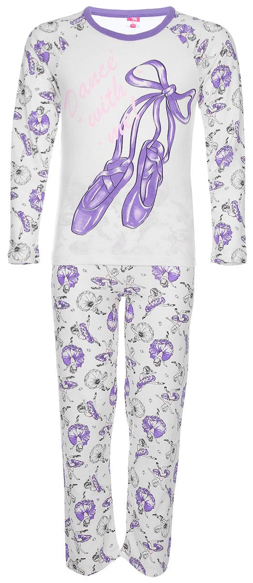 Пижама для девочки Cherubino, цвет: светло-бежевый. CAJ 5314. Размер 134CAJ 5314Пижама для девочки выполнена из комбинации набивного и гладкокрашенного полотна, декорирована принтом. Состоит из футболки с длинными рукавами и брюк.