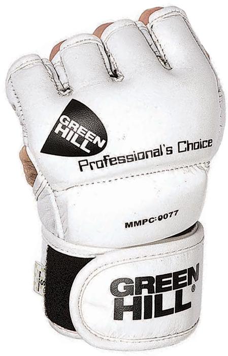 Перчатки для единоборств Green Hill ММА, цвет: белый. Размер LMMPC-0077Перчатки для боев без правил и грэплинга Green Hill выполнены из искусственной кожи.Размеры:Замерьте обхват ладони сантиметровой лентой в наиболее широком месте, исключив при этом большой палец рукиРазмер: S M L XLОбхват ладони, см. 17-18 18-19 19-22 23-27