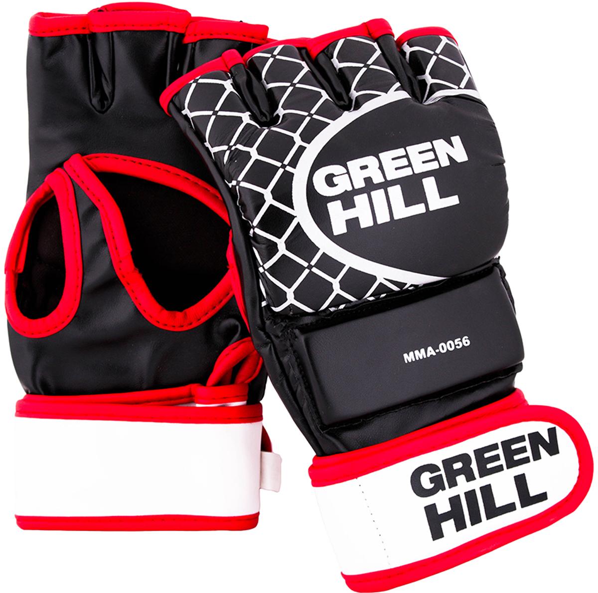 Перчатки для единоборств Green Hill ММА, цвет: черный. MMA-0056. Размер MMMA-0056Перчатки для боев без правил и грэплинга Green Hill ММА выполнены из искусственной кожи. Благодаря утолщению на кулаке и открытым пальцам, подходят как для ударов, так и для захватов. В перчатках можно выступать на соревнованиях и использовать во время тренировок.