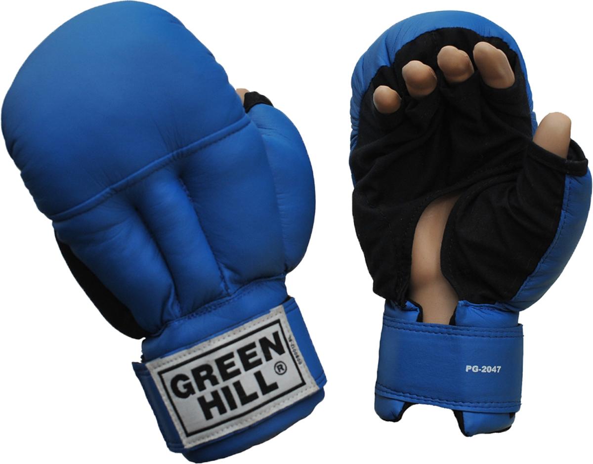 Перчатки для рукопашного боя Green Hill, цвет: синий. PG-2047. Размер LPG-2047Перчатки для рукопашного боя Green Hill произведены из высококачественной искусственной кожи. Подойдут для занятий смешанными единоборствами. Конструкция предусматривает открытые пальцы - необходимый атрибут для проведения захватов. Манжеты на липучках позволяют быстро снимать и надевать перчатки без каких-либо неудобств.