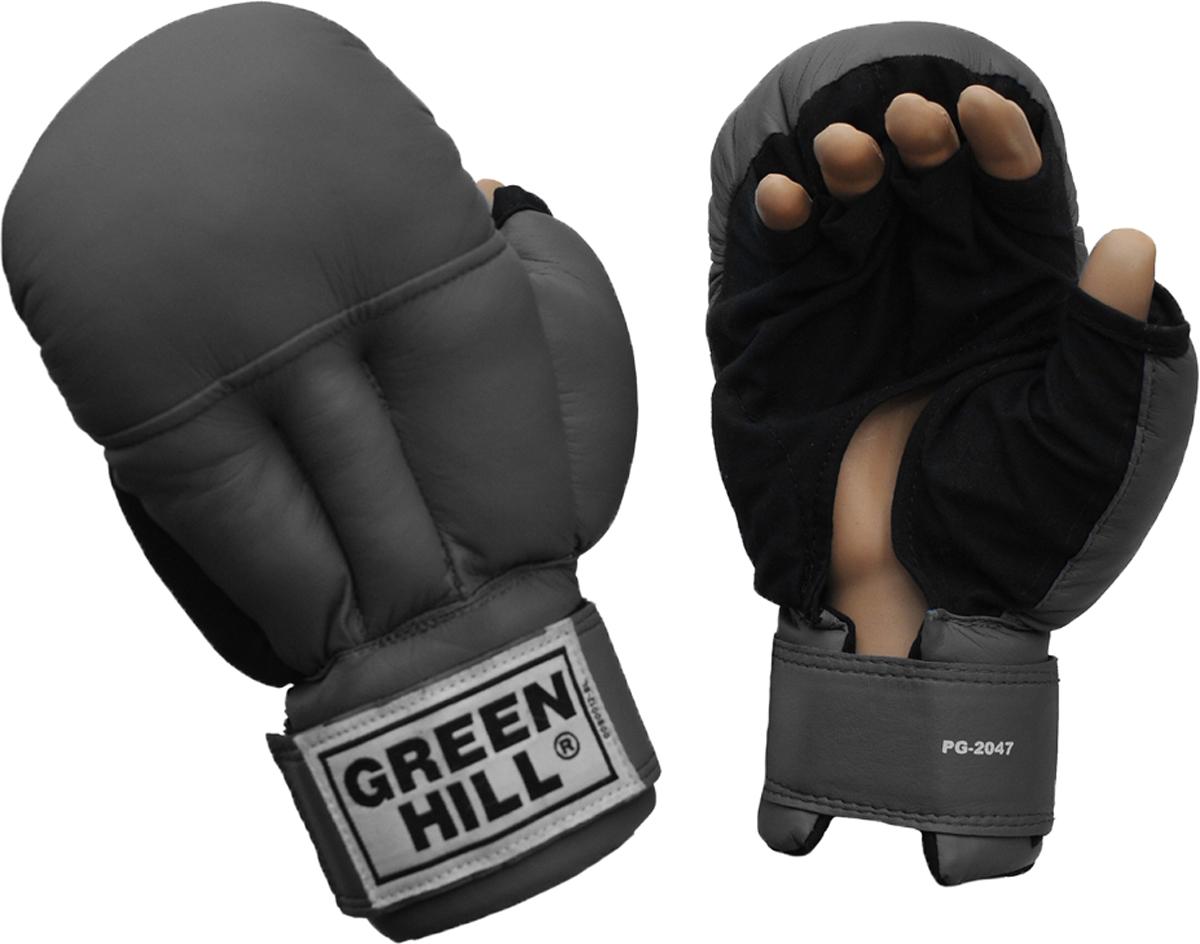 Перчатки для рукопашного боя Green Hill, цвет: черный. PG-2047. Размер LPG-2047Перчатки для рукопашного боя Green Hill произведены из высококачественной искусственной кожи. Подойдут для занятий смешанными единоборствами. Конструкция предусматривает открытые пальцы - необходимый атрибут для проведения захватов. Манжеты на липучках позволяют быстро снимать и надевать перчатки без каких-либо неудобств.