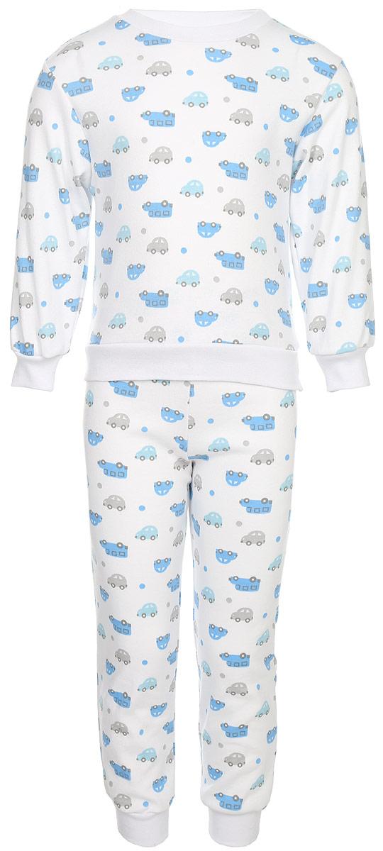 Пижама для мальчика Трон-плюс, цвет: белый, голубой. 5555_машинки. Размер 110/116, 4-8 лет5555_машинкиУютная пижама для мальчика Трон-плюс, состоящая из джемпера и брюк, идеально подойдет вашему ребенку и станет отличным дополнением к детскому гардеробу. Изготовленная из натурального хлопка, она необычайно мягкая и легкая, не сковывает движения, позволяет коже дышать и не раздражает даже самую нежную и чувствительную кожу ребенка. Джемпер с длинными рукавами имеет круглый вырез горловины. Низ изделия, рукава и вырез горловины дополнены широкой трикотажной резинкой контрастного цвета.Брюки на талии имеют эластичную резинку, благодаря чему не сдавливают живот ребенка и не сползают. Низ брючин дополнен широкими эластичными манжетами контрастного цвета.Оформлено изделие ненавязчивым принтом с изображением машинок. В такой пижаме ваш ребенок будет чувствовать себя комфортно и уютно во время сна.