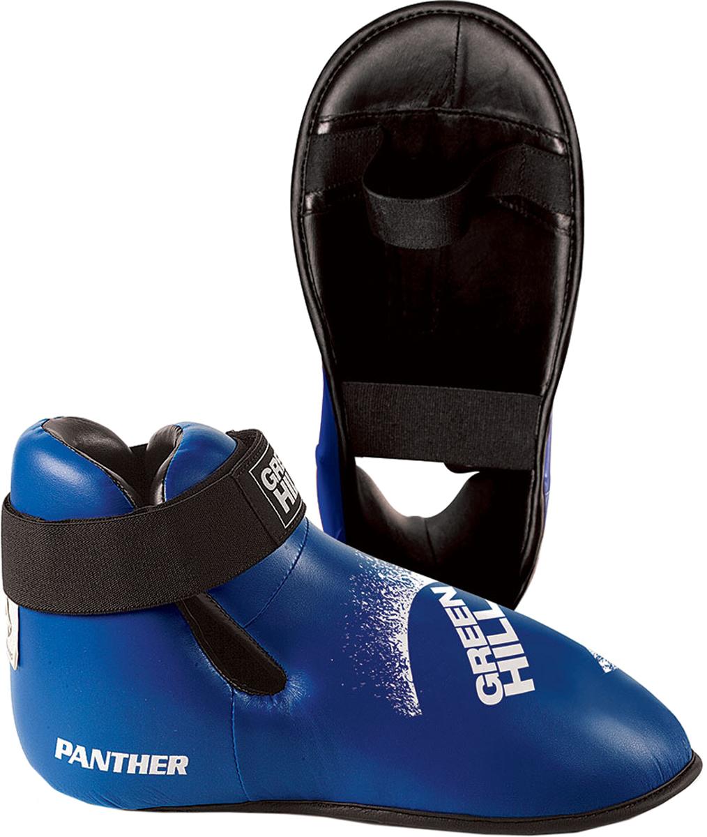 Футы Green Hill Panther, цвет: синий. KBSP-3076. Размер XSKBSP-3076Футы Green Hill Panther применяются для занятий кикбоксингом. Выполнены из высококачественной искусственной кожи, наполнитель - вспененный полимер. Резинки на липучке в задней части футов обеспечивают лучшую фиксацию ноги. Длина стопы: 24 см. Ширина: 11 см. Размер ноги должен быть меньше на 1-1,5 см.