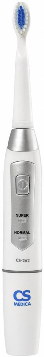 CS Medica SonicPulsar CS-262 электрическая звуковая зубная щеткаУТ000001234Электрическая звуковая зубная щетка SonicPulsar CS-262 на батарейках с широким функционалом.2 режима чистки (режим Normal и режим Super)Промежуточный таймер каждые 30 секундАвтоматическое отключение через 2 минутыПрорезиненная вставка на рукояткеCS-262 - многофункциональная зубная щетка, работающая от батареек.Имеет прорезиненную вставку для удобного использования и защитный колпачок для щетины в комплекте.Режим «Normal» (28000 движ/мин) - рекомендуется для каждодневного использования.Режим «Super» (33000 движ/мин) - рекомендуется для особо тщательного удаления зубного налета.Щетка делает на мгновение паузу каждые 30 секунд, что сориентирует вас на равномерную очистку всех участков полости рта.Щетка отключается через 2 минуты. При необходимости вы можете продолжить чистку, снова включив питание щетки.Обратите ваше внимание на то, что звуковыми моделями можно пользоваться людям, у которых в полости рта есть пломбы или протезы.
