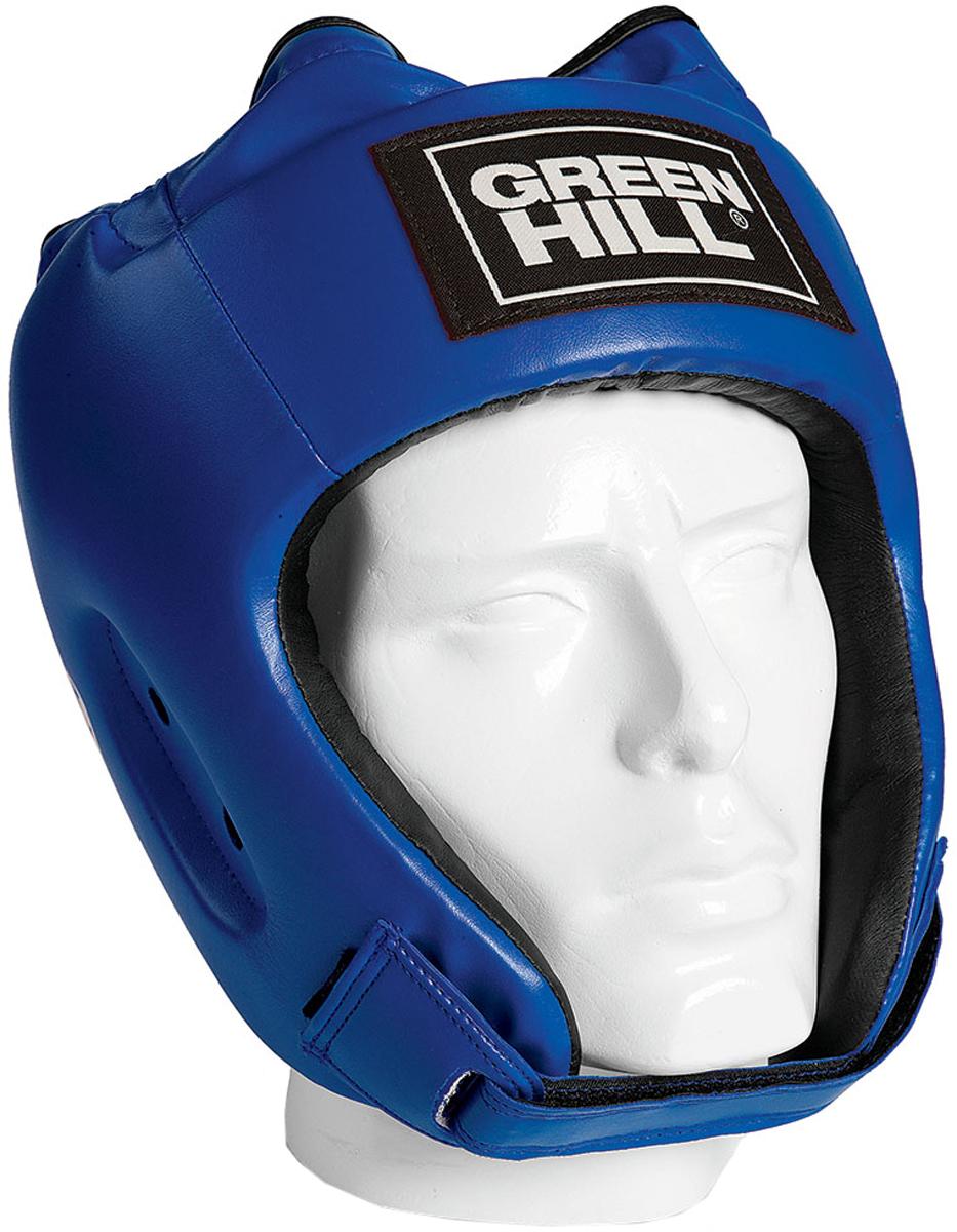 Шлем боксерский Green Hill Alfa, цвет: синий. HGA-4014. Размер MHGA-4014Боксерский шлем Green Hill Alfa предназначен для защиты головы от повреждений во время занятий боксом и кикбоксингом. Подходит как для тренировок, так и для соревнований. Выполнен из высококачественной искусственной кожи.Шлем имеет двойную систему крепления, которая крепко удерживает его на голове: шнуровка сверху, застежка на липучке на затылке и под подбородком. Крепления регулируемые, благодаря чему шлем можно подогнать четко под свой размер. Обеспечивает достаточную защиту и обзор во время поединка.Обхват головы: 54-56 см.