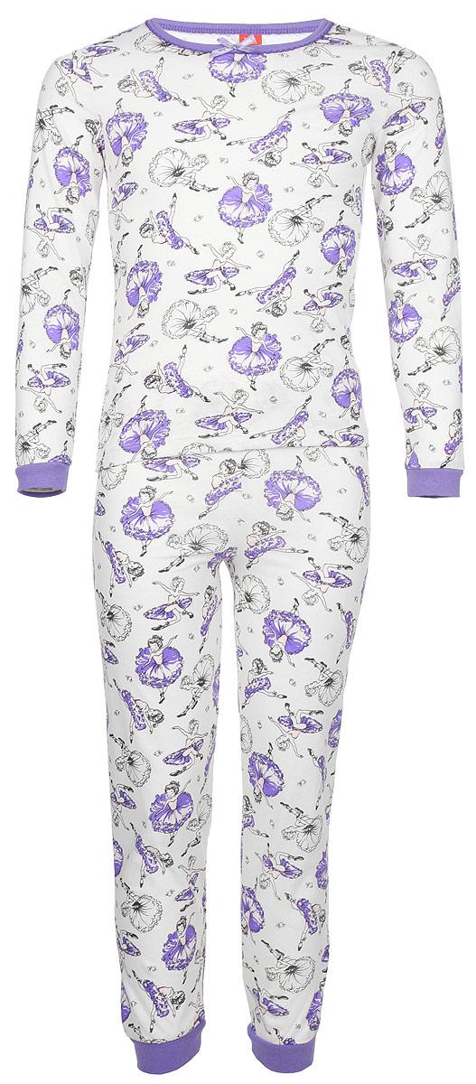 Пижама для девочки Cherubino, цвет: светло-бежевый, балерины. CAK 5306. Размер 104CAK 5306Пижама для девочки выполнен из тонкого набивного хлопкового трикотажа. Состоит из фуьболки с длинным рукавом и брюк. По рукавам и низу брючин манжеты.
