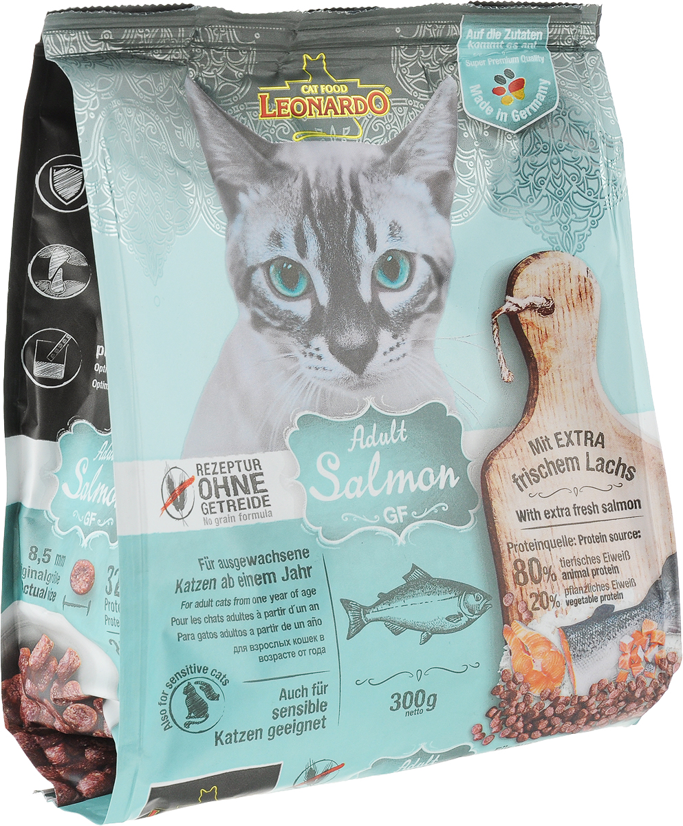 Корм сухой Leonardo Adult Salmon GF, для взрослых кошек с чувствительностью к злакам, беззерновой, с лососем, 300 г66723Корм сухой Leonardo Adult Salmon GF - является идеальным решением для кошек с пищевой непереносимостью, которые, как правило, страдают от аллергии. Корм не содержит глютен или крупу. Зерновые культуры в этом рецепте были заменены богатым питательными веществами амарантом, а в состав включен вкусный лосось для истинных любителей рыбы. Размер гранул 8-9 миллиметров.Особые ингредиенты:Амарант - питательная альтернатива злакам, без содержания глютена.Семена чии - поддерживают пищеварение при помощи природных слизистых веществ и содержат 20% жирных кислот Омега-3.С морским зоопланктоном (крилем) - обогащен важными компонентами, такими как жирные кислоты Омега-3, астаксантин и натуральные энзимы.Преимущества:- ProVital - улучшается иммунитет благодаря бета-гликанам в пивных дрожжах.- Удаление зубного налета с помощью добавки STAY-Clean.- PH контроль - оптимизирует PH мочи.Источники белка: 80% животный белок, 20% растительный белок.Товар сертифицирован.