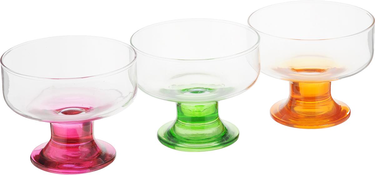 Набор креманок для мороженого Pasabahce Энжой, 300 мл, 3 шт96178BDНабор Pasabahce Энжой, изготовленный из прочного стекла, состоит из 3 креманок на цветных ножках.Изделия предназначены для подачи мороженного или десертов.Можно использовать в холодильнике и мыть в посудомоечной машине.