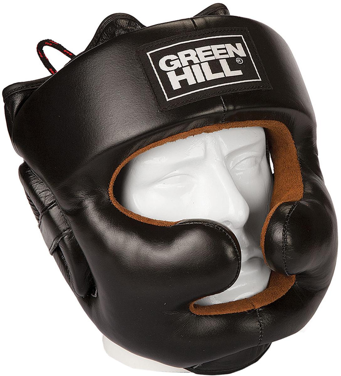 Шлем боксерский Green Hill Lux, цвет: черный. HGL-9049. Размер XLHGL-9049Тренировочный боксерский фулл-фэйс шлем Green Hill Lux разработан специально для обеспечения максимальной защиты лица спортсмена с минимальным ущербом для видимости. Защита скул практически объединяется в бампер, оставляя небольшое пространство для улучшения обзора. Уши спортсмена так же обеспечены дополнительной защитой.Шлем сделан из высококачественной натуральной коровьей кожи, внутренняя сторона из натуральной замши. Верх шлема - на шнуровке.Обхват головы: 61-63 см.