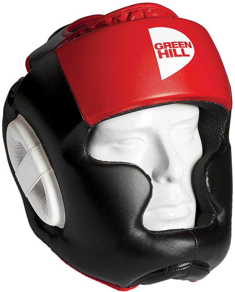 Шлем тренировочный Green Hill Poise, цвет: черный, красный. HGP-9015. Размер LHGP-9015Шлем Green Hill Poise предназначен для тренировок представителей всех видов ударных единоборств. Лицо и подбородок спортсмена надежно защищены конструкцией Full Face. Крышка шлема представляет собой пересечение ремней, соединяющихся в маленький пенный модуль в виде логотипа Green Hill. Шлем очень удобно и просто одевается и снимается. Внешняя сторона шлема выполнена из 100% полиуретана FX. Внутренняя сторона из ткани Windstopper.