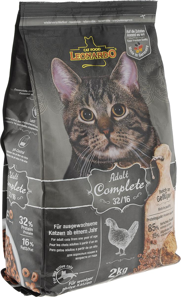 Корм сухой Leonardo Adult Complete 32/16, для взрослых кошек с пониженной активностью, с птицей, 2 кг63015Сухой корм Leonardo Adult Complete 32/16 отвечает современным требованиям к калорийности (жиры 16%) и предназначен для малоактивных кошек.Особые ингредиенты:- Солод - кошкам нравится вкус натурального и обжаренного солода.- Льняное семя - обогащено жирными кислотами Омега-3 и слизистыми веществами, улучшающими пищеварение.- Пивные дрожжи - богатое содержание витаминов группы В, аминокислот, микроэлементов и минеральных веществ.Преимущества:- Таурин - незаменимая аминокислота для укрепления зрения. - Лецитин - улучшает обмен веществ, укрепляет сердечно-сосудистую систему. - PH контроль - оптимизирует PH мочи. Источники белка: 85% животный белок, 15% растительный белок.Товар сертифицирован.