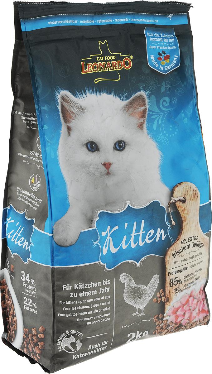 Корм сухой Leonardo Kitten, для котят до 12 месяцев, для беременных и кормящих кошек, с птицей, 2 кг