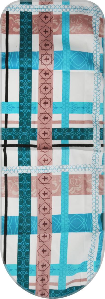 Чехол для гладильной доски Detalle, универсальный, цвет: бирюзовый, коричневый, белый, 125 х 47 см