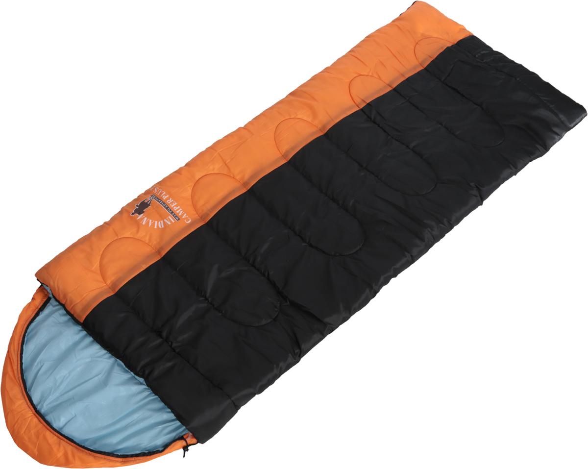 Спальный мешок Indiana  Camper Plus , правая молния, цвет: оранжевый, серый, черный, 195 х 35 х 90 см - Спальные мешки