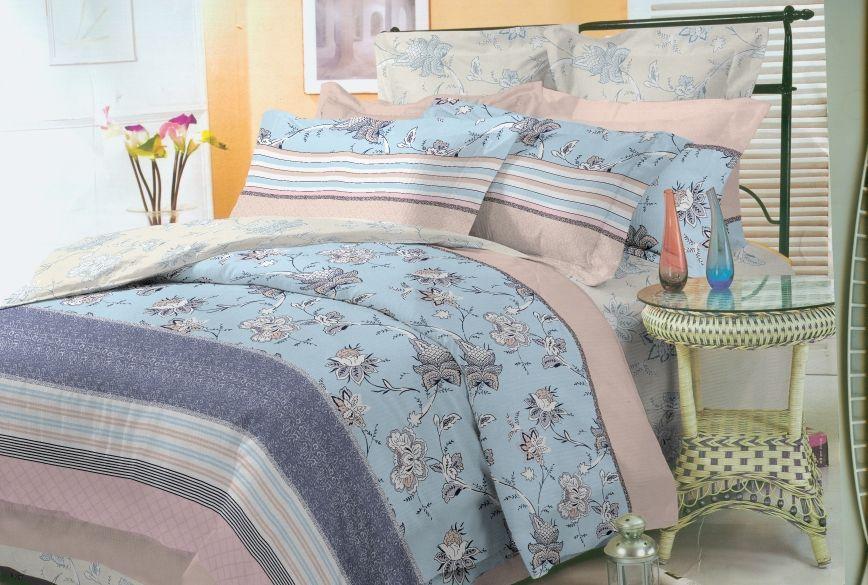 Комплект белья Soft Line, 1,5-спальный, наволочки 50x70, цвет: голубой. 0729007290