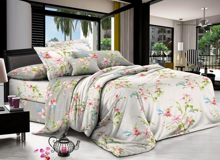 Комплект белья Soft Line, 1,5-спальный, наволочки 50x70, цвет: серо-белый. 0732007320