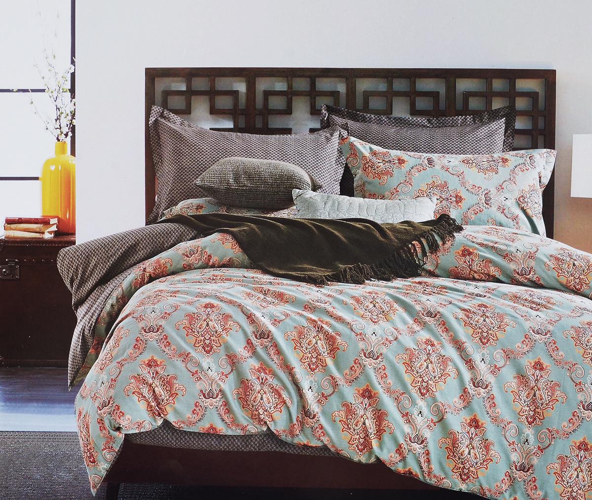 Комплект белья Arya Felisa, 2-спальный, наволочки 50х70, 70х70, цвет: голубой, оранжевыйTR1002011Роскошный комплект постельного белья Arya Felisa состоит из пододеяльника, простыни и 4 наволочек, выполненных из сатина (100% хлопка). Сатин - прочная и плотная ткань с диагональным переплетением нитей. Сатиновое постельное белье легко переносит стирку в горячей воде, не выцветает, не соскальзывает с кровати и приятно на ощупь.Благодаря такому комплекту постельного белья вы создадите неповторимую атмосферу в вашей спальне.