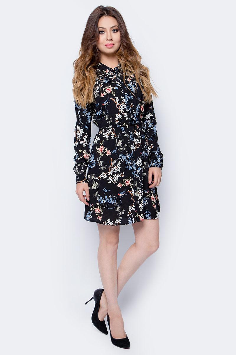 Платье Tom Tailor, цвет: черный. 5055002.00.71_2993. Размер XS (42)5055002.00.71_2993Платье Tom Tailor выполнено из высококачественного материала. Модель с длинными рукавами застегивается на пуговицы. Платье оформлено рюшами.