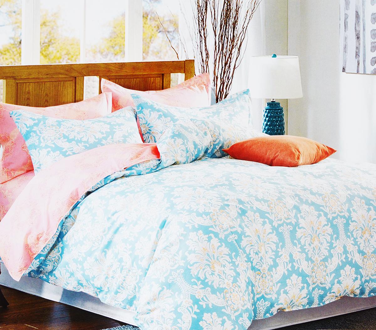 Комплект белья Arya Caro, 2-спальный, наволочки 50х70, 70х70, цвет: голубой, коралловыйTR1002255Роскошный комплект постельного белья Arya Caro состоит из пододеяльника, простыни и 4 наволочек, выполненных из сатина (100% хлопка). Сатин - прочная и плотная ткань с диагональным переплетением нитей. Сатиновое постельное белье легко переносит стирку в горячей воде, не выцветает, не соскальзывает с кровати и приятно на ощупь.Благодаря такому комплекту постельного белья вы создадите неповторимую атмосферу в вашей спальне.