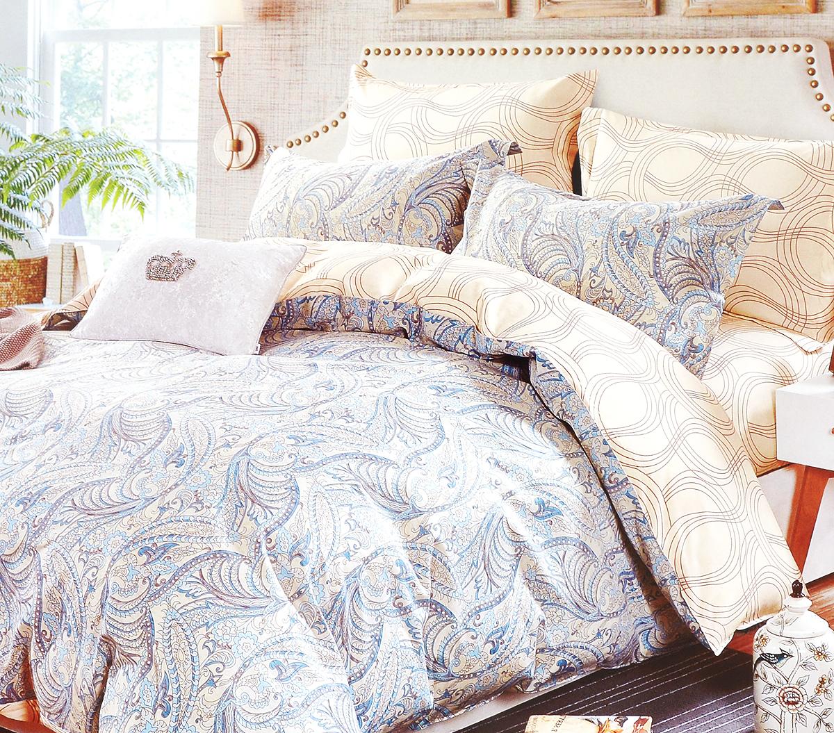 Комплект белья Arya Adella, 2-спальный, наволочки 50х70, 70х70, цвет: бежевый, голубойTR1002249Роскошный комплект постельного белья Arya Adella состоит из пододеяльника, простыни и 4 наволочек, выполненных из сатина (100% хлопка). Сатин - прочная и плотная ткань с диагональным переплетением нитей. Сатиновое постельное белье легко переносит стирку в горячей воде, не выцветает, не соскальзывает с кровати и приятно на ощупь.Благодаря такому комплекту постельного белья вы создадите неповторимую атмосферу в вашей спальне.