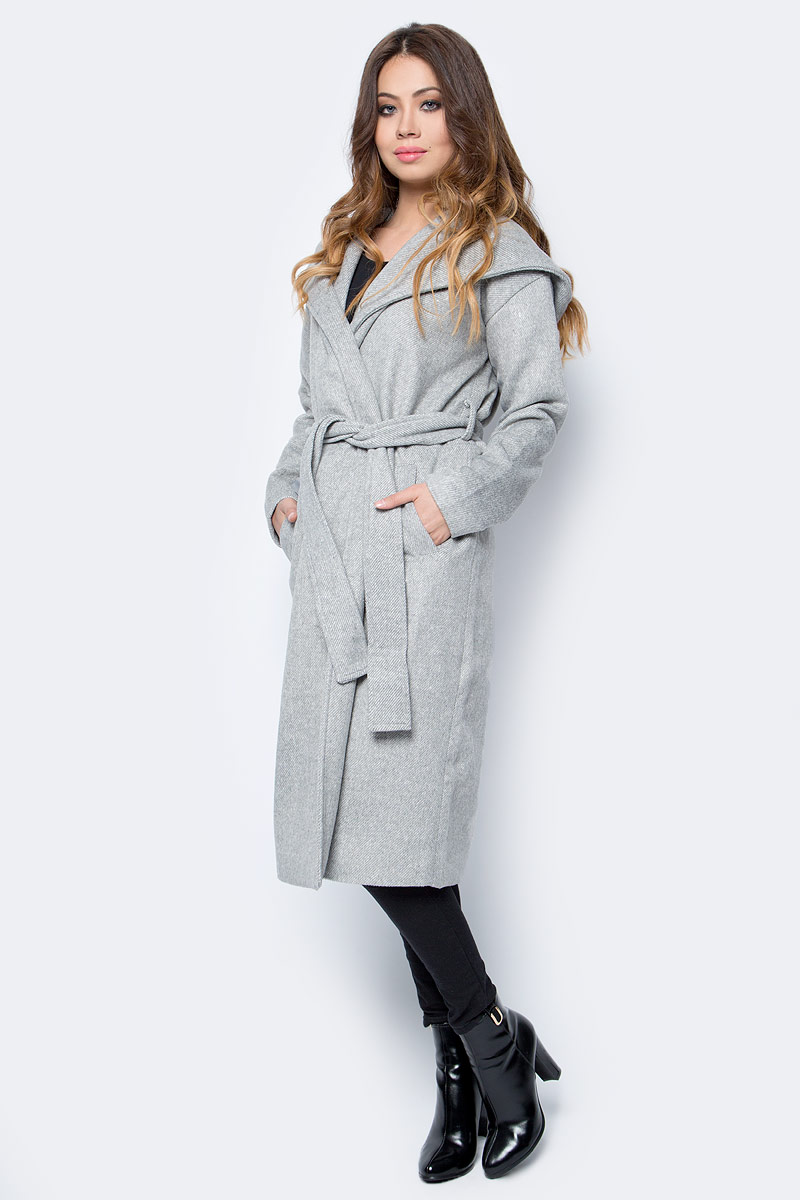 Пальто женское Top Secret, цвет: серый. SPZ0403GB. Размер 36 (46)SPZ0403GBСтильное женское пальто Top Secret выполнено из комбинированного материала высокого качества. Пальто с длинными рукавами и воротником с лацканами. Модель дополнена поясом.