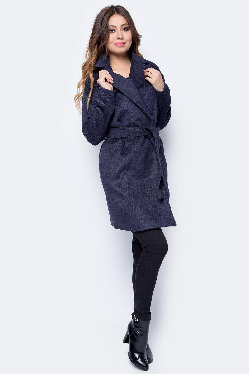 Пальто женское Top Secret, цвет: синий. SPZ0404GR. Размер 34 (42)SPZ0404GRСтильное женское пальто Top Secret выполнено из комбинированного материала высокого качества. Пальто с длинными рукавами и воротником с лацканами. Модель дополнена поясом.