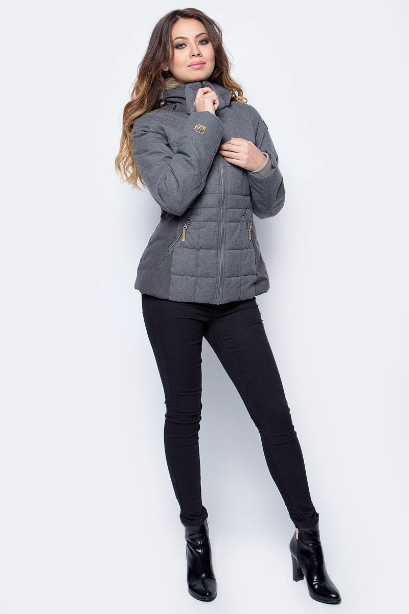 Куртка женская Icepeak, цвет: темно-серый. 853045562IV_817. Размер 36 (42)853045562IV_817Куртка женская Icepeak выполнена из полиэстера. Модель с длинными рукавами и капюшоном застегивается на застежку-молнию.
