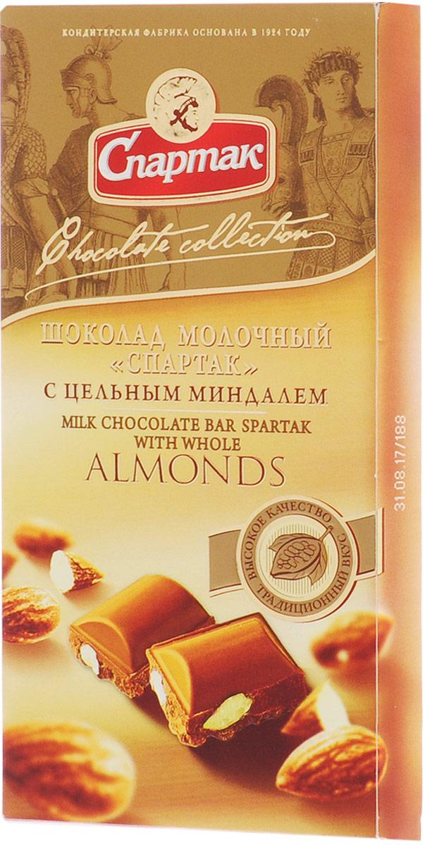 Спартак шоколад молочный с цельным миндалем, 90 г raffaello конфеты с цельным миндальным орехом в кокосовой обсыпке 90 г