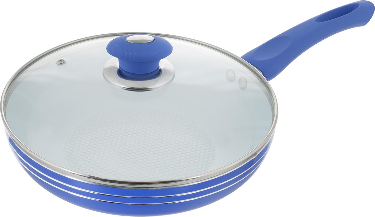 """Сковорода """"Bohmann"""" изготовлена из прочного алюминия с внутренним керамическим  покрытием, которое обладает высокой прочностью. Кроме того, с таким покрытием пища не  пригорает и не прилипает к стенкам. Готовить можно с минимальным количеством масла.  Сковорода быстро разогревается, распределяя тепло по всей поверхности, что позволяет  готовить в энергосберегающем режиме, значительно сокращая время, проведенное у плиты.  Сковорода оснащена удобной пластиковой ручкой с силиконовым покрытием. Она не нагревается  в процессе готовки и  обеспечивает надежный хват. Крышка изготовлена из жаропрочного стекла, оснащена ручкой,  отверстием для выхода пара и металлическим ободом. Благодаря такой крышке можно следить  за приготовлением пищи без потери тепла. Подходит для всех плит, включая  индукционные. Можно мыть в посудомоечной машине. Диаметр сковороды (по верхнему краю): 24 см. Высота стенки: 5 см. Длина ручки: 19 см. Диаметр индукционного дна: 15 см."""