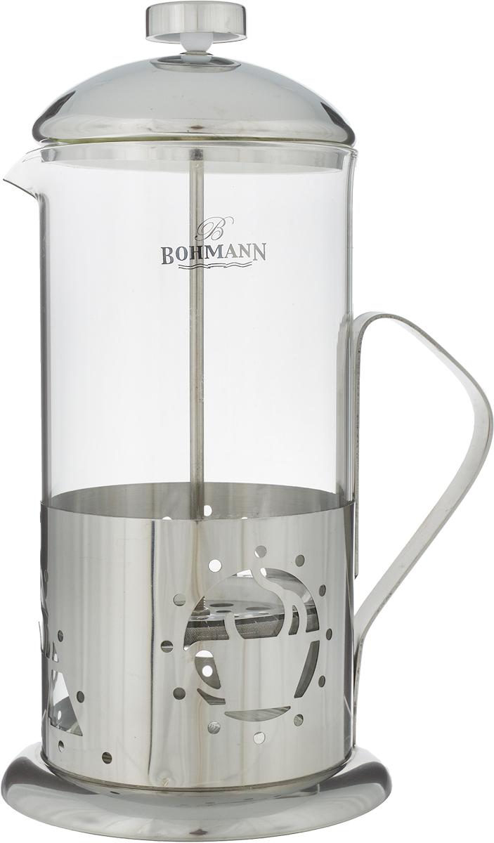 Френч-пресс Bohmann Чашка кофе, 1 л. 9510BH/NEW9510BH/NEW_чашка кофеФренч-пресс Bohmann Чашка кофе, выполненный из нержавеющей стали, поможет приготовить вкусный ароматный чай или кофе. Колба изготовлена из термостойкого стекла, которое выдерживает температуру до 120°С. Изделие дополнено перфорацией в виде чашки кофе.Утолщенный ободок колбы повышает прочность и продлевает срок службы изделия. Форма края носика препятствует образованию подтеков. Плотно прилегающая крышка позволяет надолго сохранить аромат напитка. Стальной фильтр-поршень обеспечивает равномерную циркуляцию воды и насыщенность напитка. С его помощью также можно регулировать степень крепости напитка.Засыпая чайную заварку или кофе под фильтр, заливая горячей водой, вы получаете ароматный напиток с оптимальной крепостью и насыщенностью. Остановить процесс заваривания легко, для этого нужно просто опустить поршень, и все уйдет вниз, оставляя вверху напиток, готовый к употреблению.Можно мыть в посудомоечной машине.Высота френч-пресса (с учетом крышки): 24 см.Диаметр колбы (по верхнему краю): 9,5 см.Диаметр основания: 12 см.
