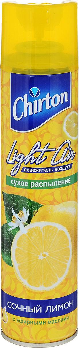 """Освежитель воздуха Chirton """"Сочный лимон"""" предназначен для устранения неприятных запахов в  различных помещениях. Высокое качество  позволит быстро избавиться от неприятных запахов в любом уголке вашего дома.  Современный дизайн и силуэт Chirton """"Сочный лимон"""" гармонично впишется в любой  интерьер. Состав: пропан/бутан/изобутан >30%, растворитель Товар сертифицирован.  Уважаемые клиенты! Обращаем ваше внимание на то, что упаковка может иметь несколько видов дизайна.  Поставка осуществляется в зависимости от наличия на складе."""