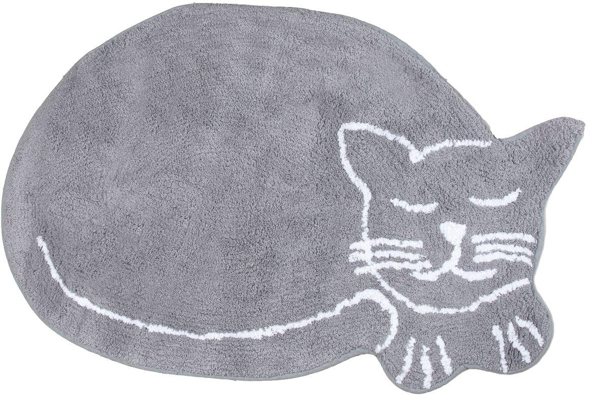 Коврик для ванной Verran Gato, 50 х 80 см063-60Мягкий коврик Verran Gato в виде милой кошечки создаст дополнительный уют в ванной комнате. Изделие выполнено из хлопка. На основу коврика нанесено латексное напыление. Он подходит для системы теплого пола. Коврик обладает гипоаллергенными свойствами и быстро сохнет. Дает приятные тактильные ощущения.Длина ворса: 1 см.