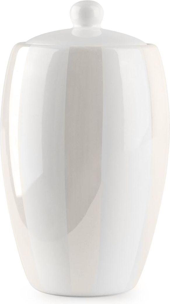 Благородный блеск перламутровой деколи, нанесенной на белоснежную керамическую поверхность баночки для ватных дисков, и простые формы придают новое звучание интерьеру ванной комнаты, созданному под влиянием классического стиля.