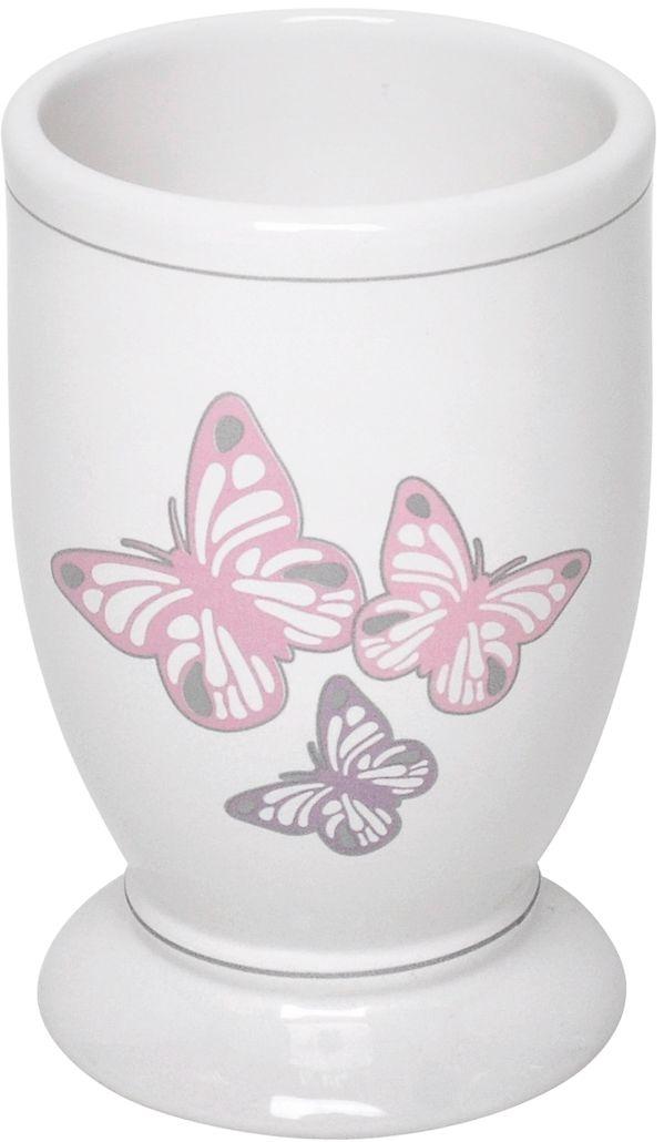 На белоснежную керамическую поверхность этого стакана нанесена деколь с рисунком в виде бабочек. Аксессуар превосходно впишется в нежный романтический интерьер ванной комнаты, исполненный в светлых тонах.