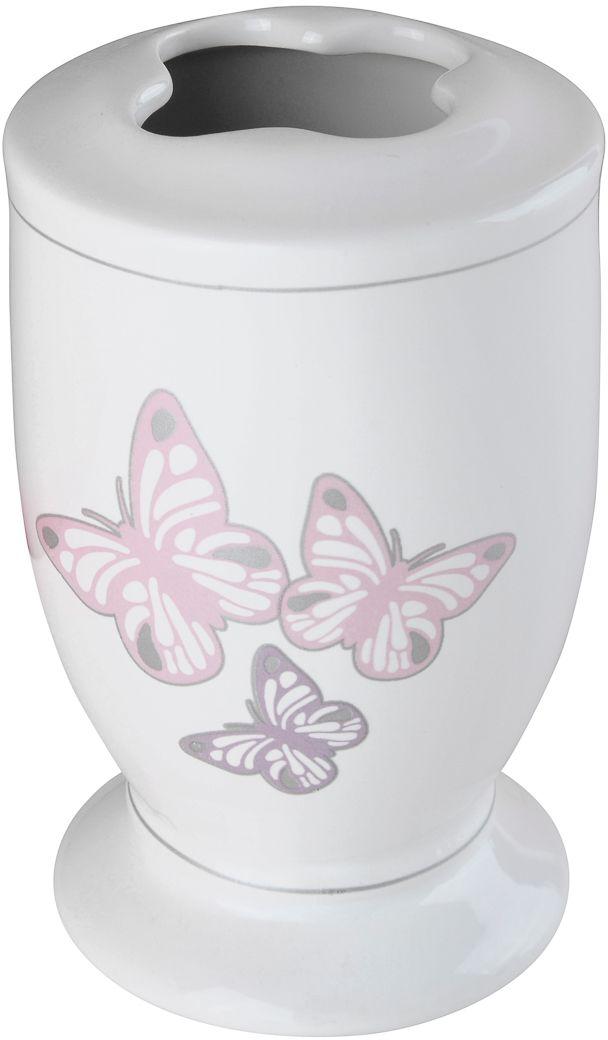 На белоснежную керамическую поверхность этого стакана для зубных щеток нанесена деколь с рисунком в виде бабочек. Аксессуар превосходно впишется в нежный романтический интерьер ванной комнаты, исполненный в светлых тонах.