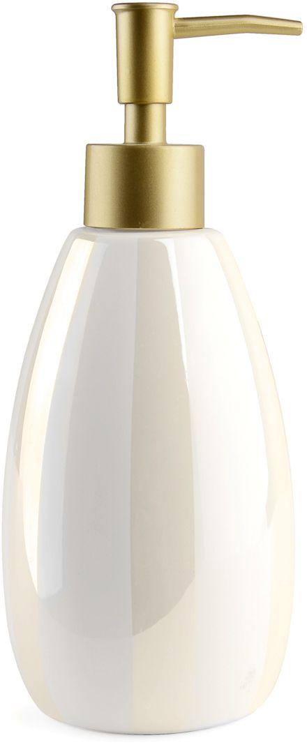 Благородный блеск перламутровой деколи, нанесенной на белоснежную керамическую поверхность дозатора для жидкого мыла, и простые формы придают новое звучание интерьеру ванной комнаты, созданному под влиянием классического стиля.