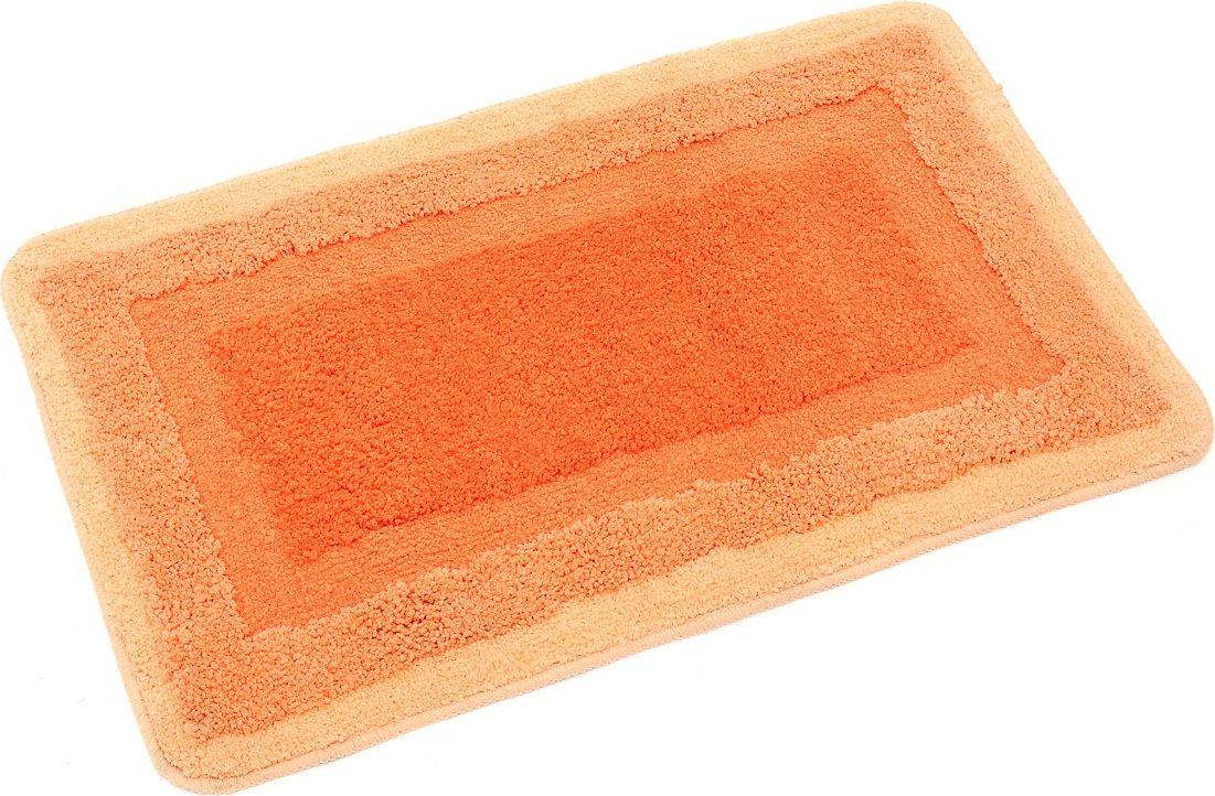 Коврик для ванной Wess Belorr, цвет: оранжевый, 50 х 80 смA13-44Яркий оранжевый коврик для ванной комнаты прямоугольной формы создает позитивную атмосферу в ванной комнате. Ворс разной длины делает рисунок рельефным. Максимальная длина ворса составляет 2 см. Коврик для ванной комнаты быстро сохнет, великолепно впитывает влагу, приятен на ощупь, снабжен латексной основой, предотвращающей скольжение на кафеле.