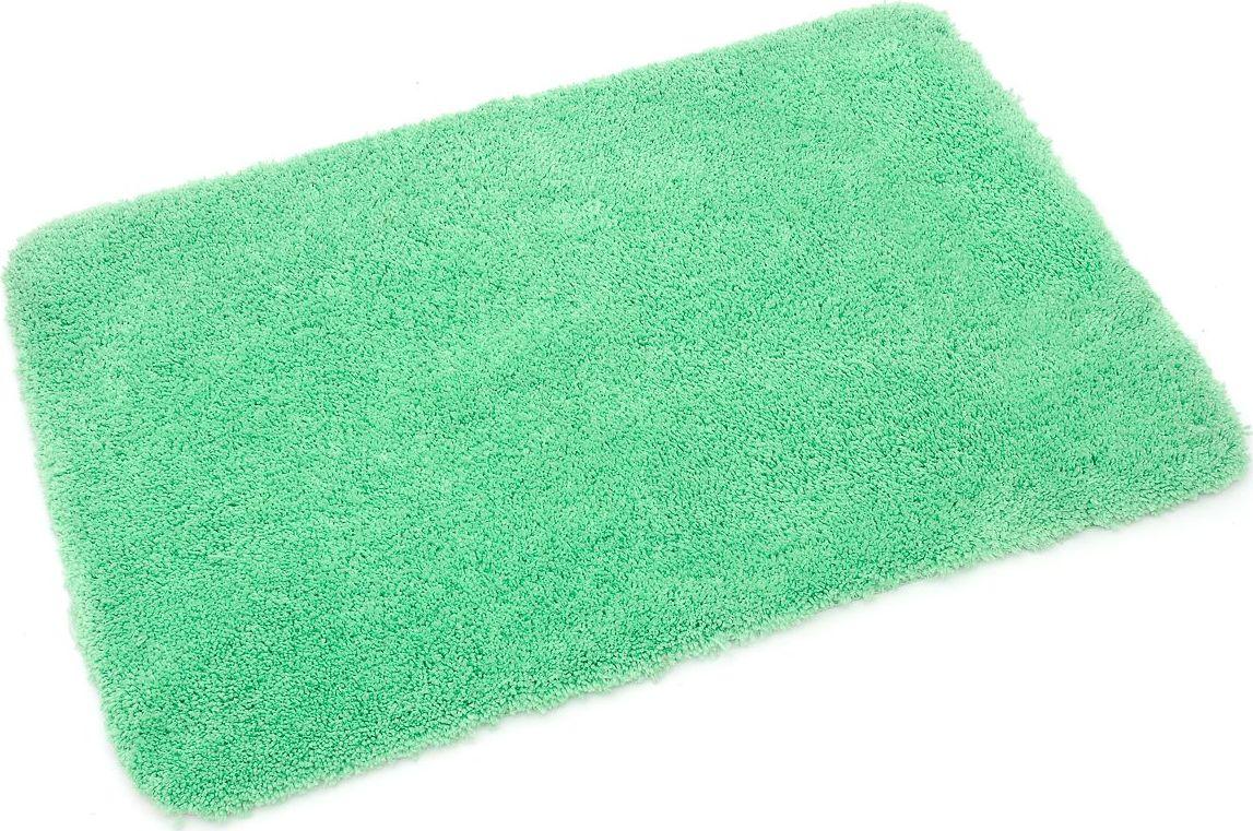 Нежно-зеленый цвет коврика для ванной комнаты напомнит о лете. Длина ворса составляет 4 см. Коврик для ванной комнаты снабжен латексной основой, предотвращающей скольжение на кафеле, отлично впитывает влагу, быстро сохнет, сохраняет первоначальные свойства и внешний вид даже после многочисленных стирок, дает приятные тактильные ощущения.