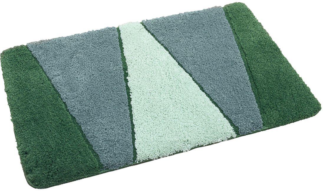 Коврик для ванной Wess Rainbow, цвет: зеленый, 50 x 80 смA59-50Ритмичное чередование цветов позволяет легко сочетать коврик с другими аксессуарами. Длина ворса составляет 2 см. Коврик снабжен латексной основой, предотвращающей скольжение, отлично впитывает влагу, быстро сохнет, сохраняет первоначальные свойства и внешний вид даже после многочисленных стирок.
